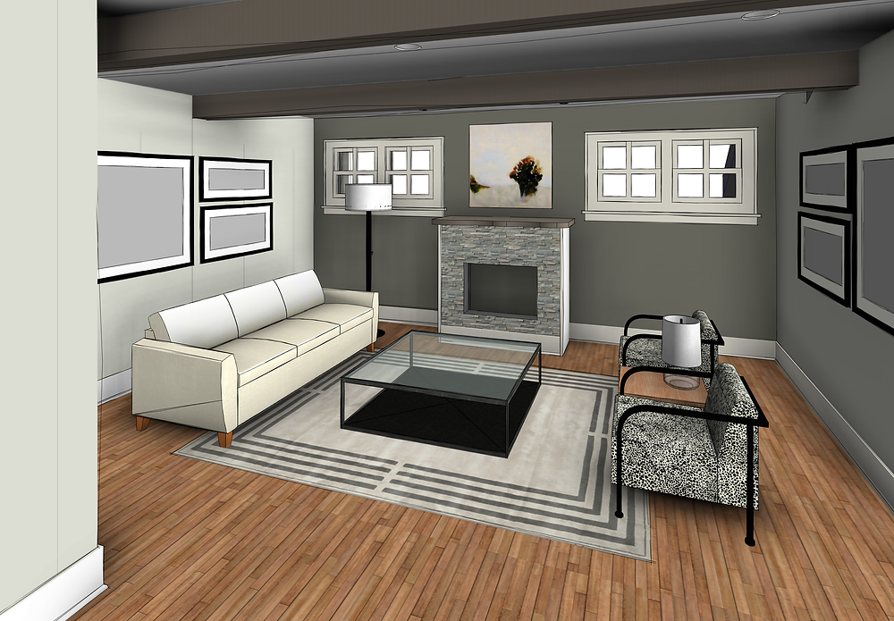 Addition space with a fireplace and privacy windows