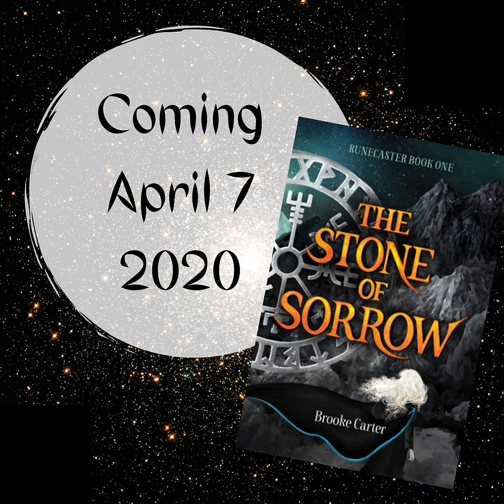 The cover of The Stone of Sorrow by Brooke Carter in front of an image of the night sky. 'Coming April 7 2020' written in text over a faded white circle.