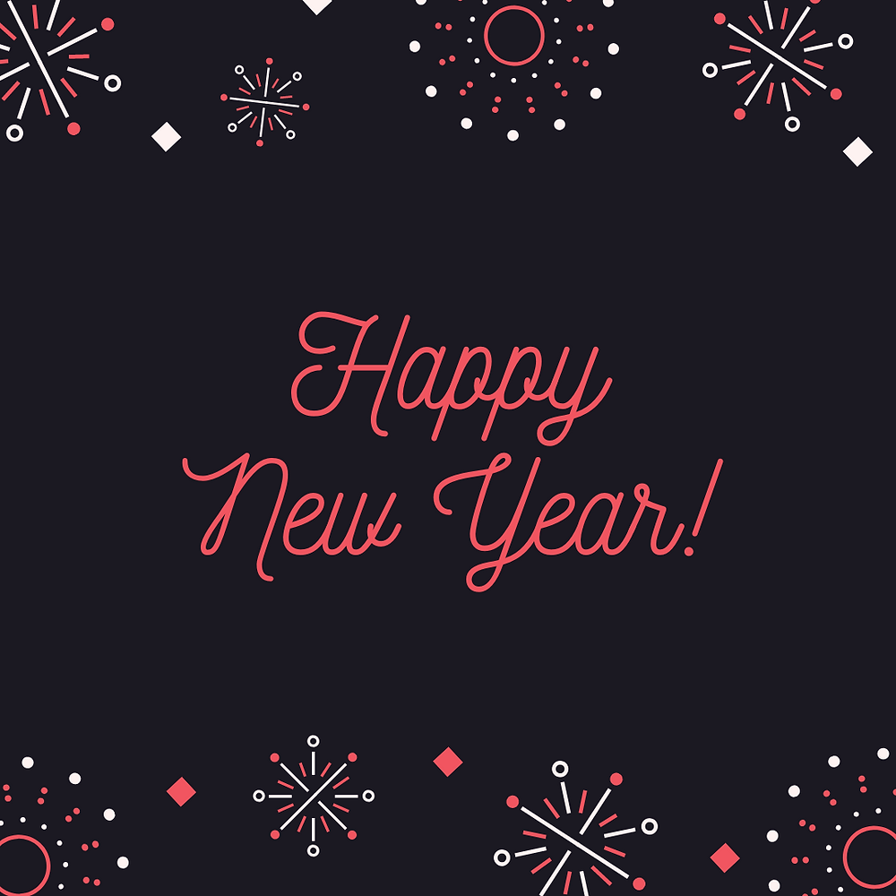 'Happy New Year' written in red on a dark background, with red, white and gray fireworks.