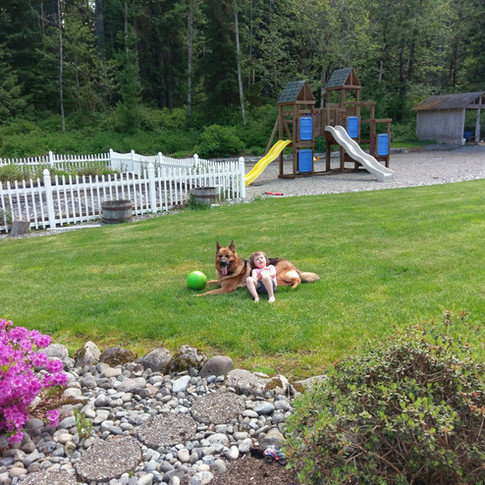 Chakira and Catie relaxing on a summer day