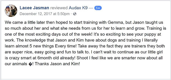 We came a little later then hoped to start training with Gemma, but Jason taught us so much about her and what she needs from us for her to learn and grow. Training is one of the most exciting days out of the week! It's so exciting to see your puppy at work. The knowledge that Jason and Kim have about dogs and training I literally learn almost 5 new things Every time! Take away the fact they are trainers they both are super nice, easy going and fun to talk to. I can't wait to continue as our little girl is crazy smart at 6month old already! Shoot I feel like we are smarter now about all our animals �! Thanks Jason and Kim!
