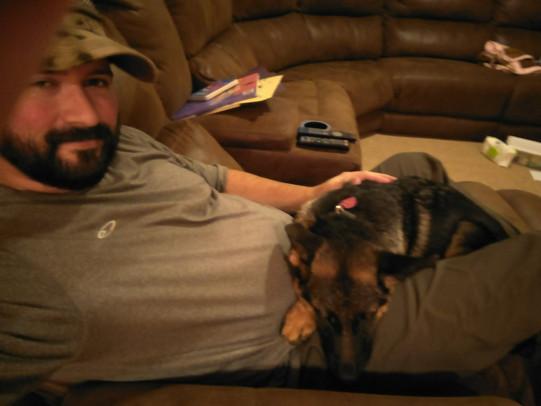 Heidi sleeps on my lap