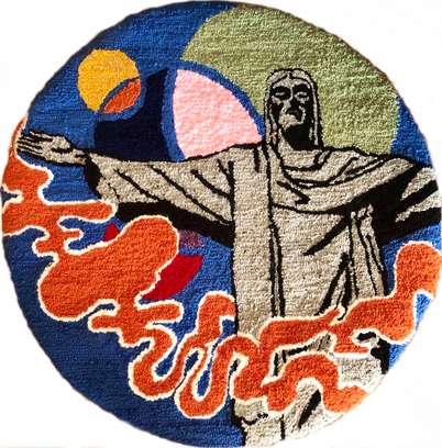 'The Redeemer' rug, 28 x 28 inches