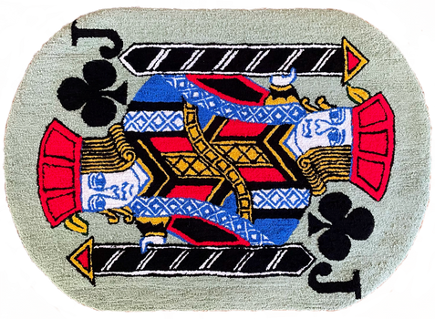 'Jack of Clubs' rug, 48 x 34 inches