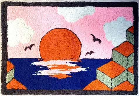 Japan inspired rug 2/2, 30 x 20 inches