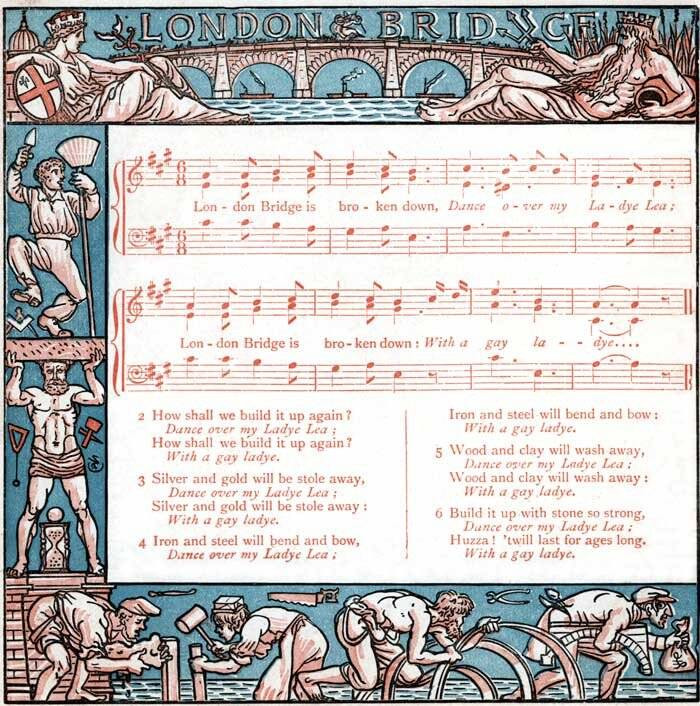 "An Illustration of ""London Bridge"" with an accompanying score by Walter Crane."