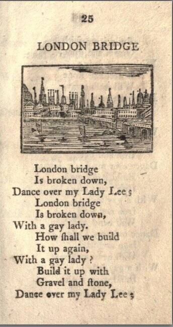 "A page from Tommy Thumbs Pretty Song Book published in 1744 that shows the beginning of ""London Bridge Is Falling Down."""