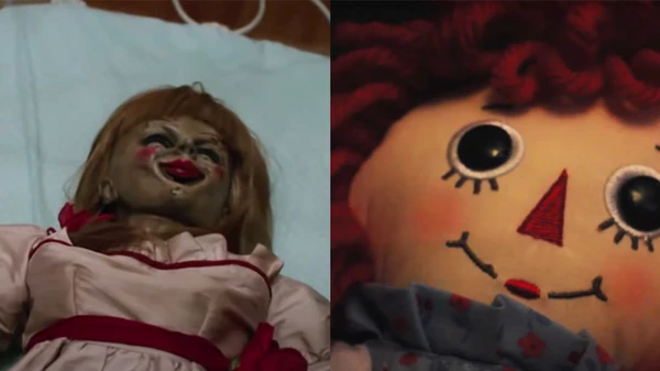 ANNABELLE AS SEEN IN THE CONJURING UNIVERSE FILMS, AND THE DOLL THAT INSPIRED HER.
