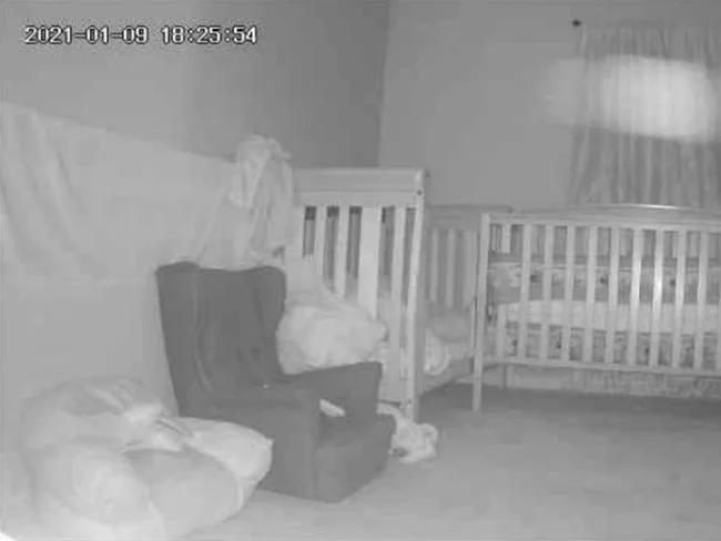 Terrified Grandma spots 'demon' lurking over baby's cot