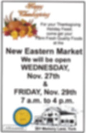 New Eastern Market Thanksgiving 2019 Ope