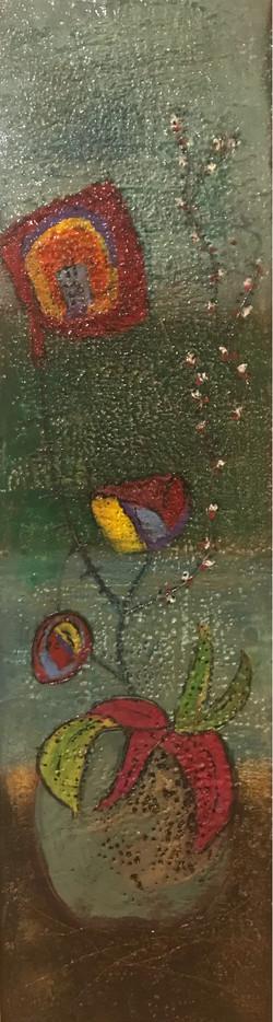 Folk Art Flower Vase 10x36