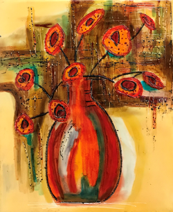 Abstract Vase And Flowers  8x10  $225