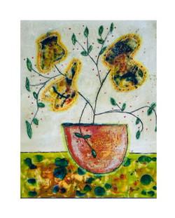 Vase and Flowers encaustic   16 x 20
