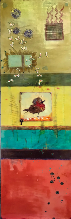 Folk Art with Bird 18 x 60 $1,500