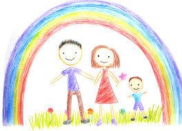 famille sous arc-en-ciel dessin d'enfant