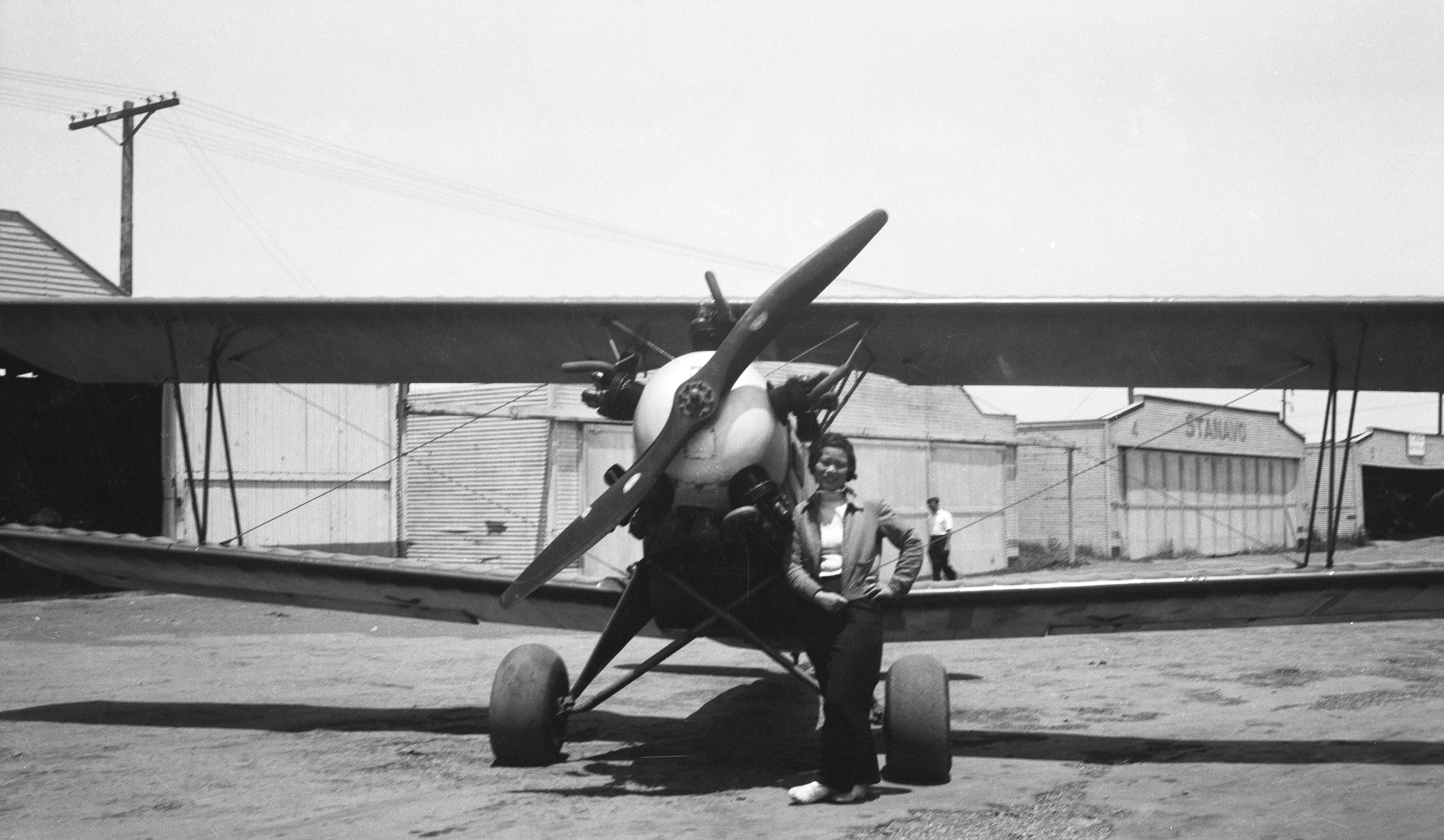 Katherine with biplane