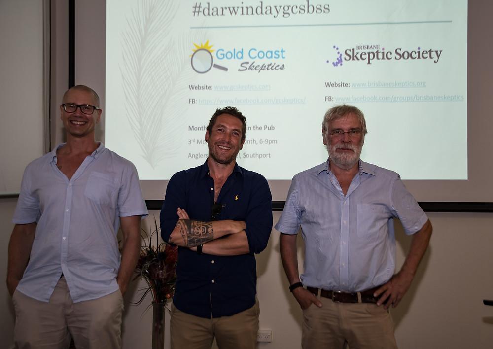 Darwin Day speakers (left to right): Associate Professor Bryan Fry, Dr Renaud Joannes-Boyau and Professor Rian Grun
