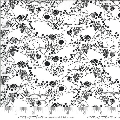 Dwell in Possibility by Gingiber for Moda Fabrics  48313-19 deer black and white