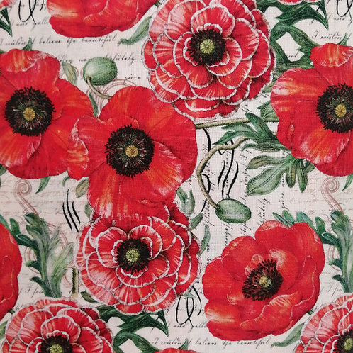 Poppies and Butterflies - Poppies Script Fabric