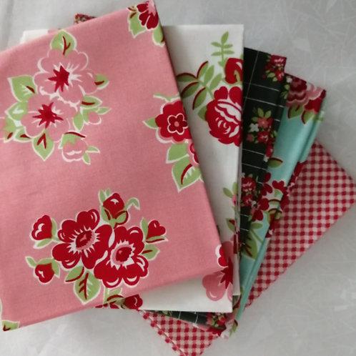 Fat Quarter Patchwork Fabric Bundle - 5 floral prints stash sale