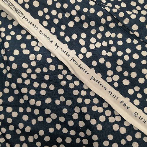 "108"" quilt backing fabric - Lotta Jansdotter Navy/White"