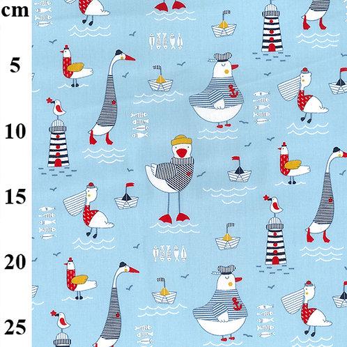 John Louden Fabric - Fun Nautical Print seaside lighthouse