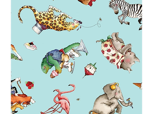 Hungry Animal Alphabet Riley Blake Blue Scatter