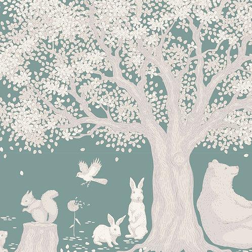 Tilda Woodland Fabrics - Woodland Scene Sage 296