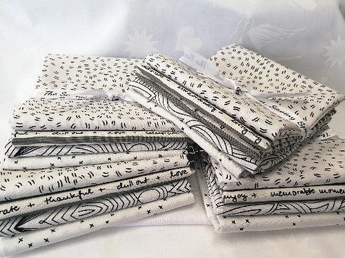 Fat Quarter Patchwork Fabric Bundle - 4 low volume  black and whiteprints Moda Gingiber Zen Chic