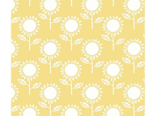 Hungry Animal Alphabet Riley Blake - daisy on yellow fabric
