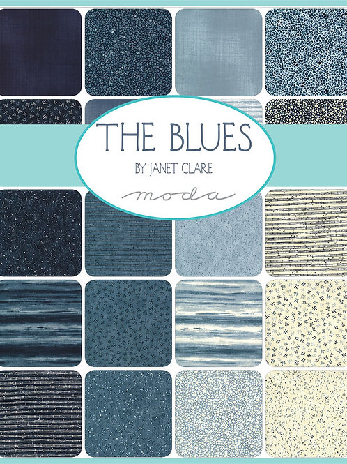 The Blues by Janet Clare for Moda Fabrics Jelly Roll fabric strips patchwork fabric tie die coastal fabric strips patchwork