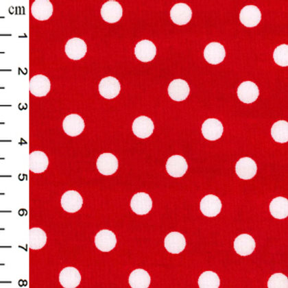 Rose and Hubble Fabric Cotton Poplin - white spot on red