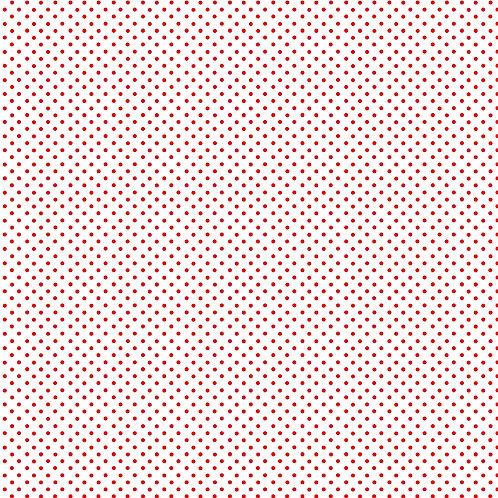 Makower Spot On Fabric - Red Spot on White