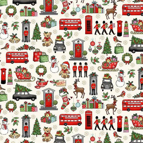 London Christmas by Makower UK Fabrics - London Icons on Cream