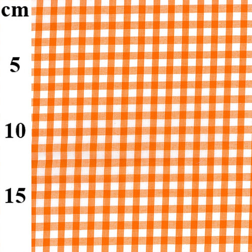 Gingham Poly-Cotton Fabric - Orange