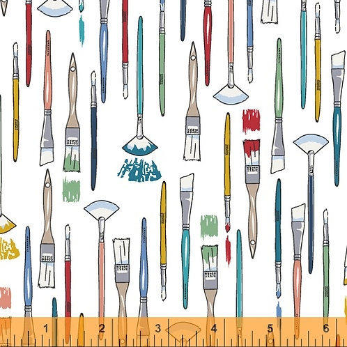 Windham Fabrics - The Artist multi-colour paintbrushes