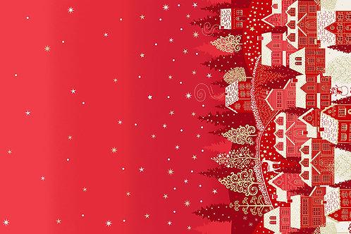 Scandi by Makower UK Fabrics - Double Border Houses Red