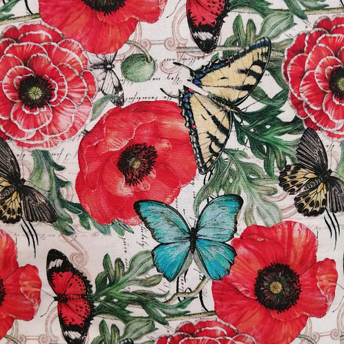 Poppies and Butterflies - Mingling on Script Fabric