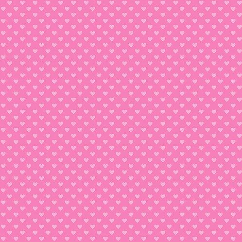 Makower Hearts Fabric - Tonal Pink