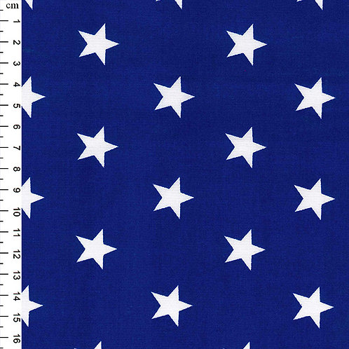 Rose and Hubble Fabric - Cotton Poplin - white star on blue