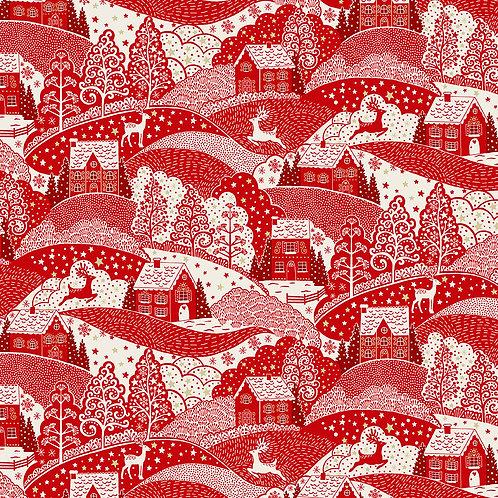 Scandi by Makower UK Fabric - Scenic Red