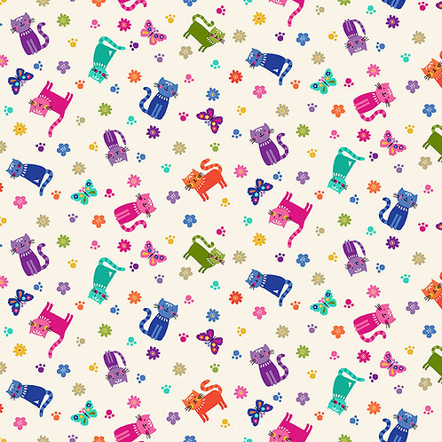 Katie's Cats by Makower UK Fabric - cats scattered cream 2349Q patchwork quilting