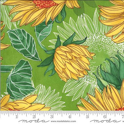 robin pickens yellow sunflower on green fabric