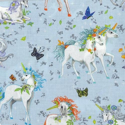 Nutex Fabrics - Pretty Please - unicorns on blue