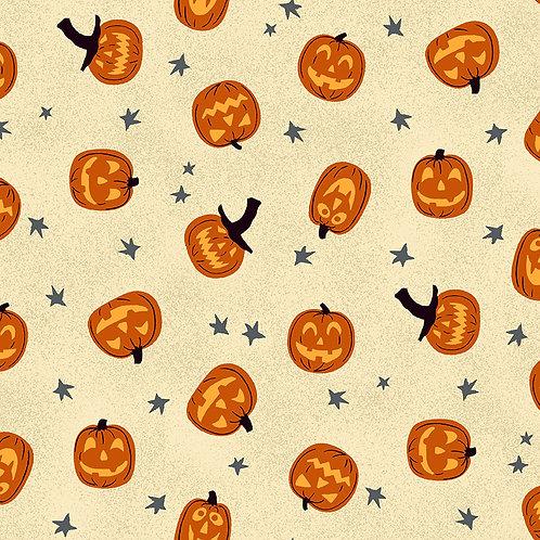 Midnight Haunt by Makower UK Fabrics - Jack O'Lantern Sand Halloween fabric for patchwork