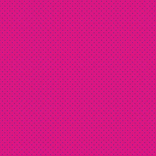 Makower Spot On Fabric - Purple Spot on Pink