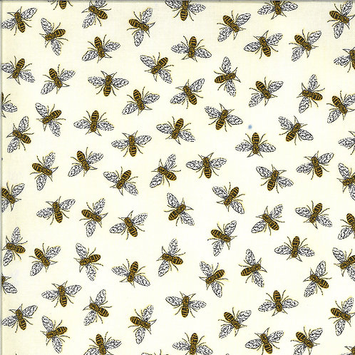 Bee Grateful by Deb Strain for Moda Fabrics - Bees on Parchment