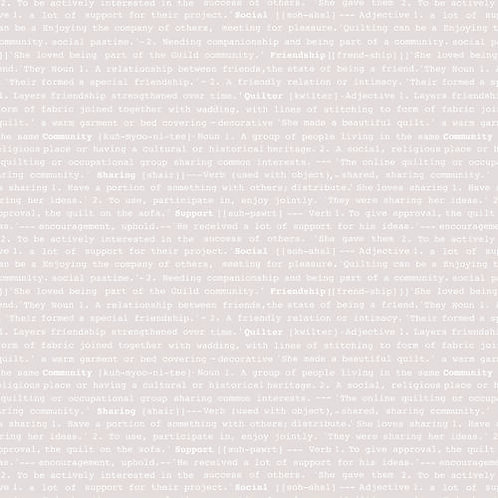 Great British QUilters Fabric - silver text
