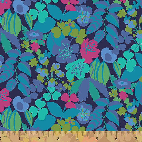 Solstice by Sally Kelly for Windham fabric - Blue fabric