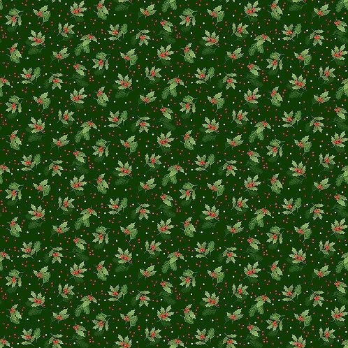 Classic Foliage Christmas by Makower UK Fabrics - Holly Spray 2377G